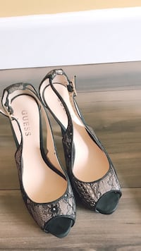 pair of gray leather peep-toe heels Port Coquitlam, V3B 1H2