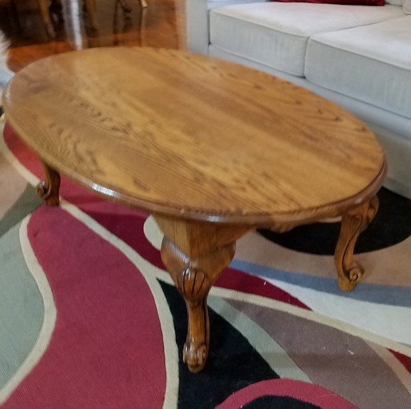 Beautiful Solid Oak Wood Antique Oval Coffee Table