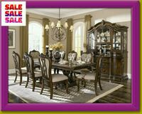 rectangular brown wooden table with chairs dining set Katy