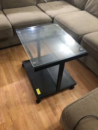 Rectangular black metal framed glass top coffee table Sherwood Park, T8A 0L9