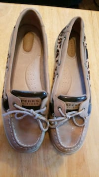 Sperry leopard loafers