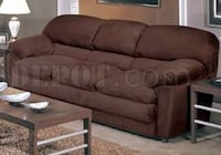 3 piece extra large sofa (couches) set. Espresso brown micro suede. In good condition and clean. Missing feet.  Armchair, loveseat and couch.  All 3 pieces sold together.   Pick up only. Slightly Negotiable Laval