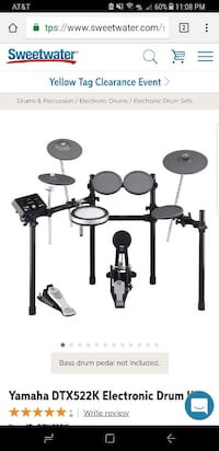 Yamaha Dtx522k electric drum set with double bass