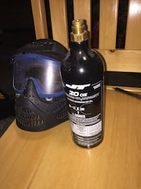 black JT CO2 cartridge and black paintball mask