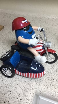 M & m's riding a motorcycle candy dispenser