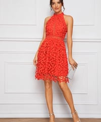 SHEIN red lace dress (size small-medium)