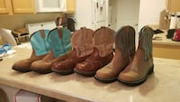three pairs of assorted-color deep-scallop round-toe roper-heeled cowboy boots Prineville, 97754