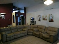 Beige leather reclining sectional sofa Winter Haven