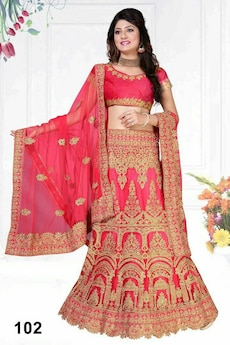 women's brown and red floral ghagra choli