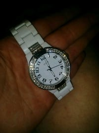 round silver-colored analog watch with link bracelet Denham Springs, 70726