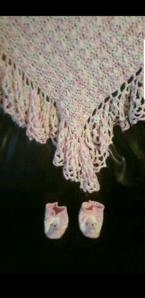 Used Brand New Handmade Crochet Baby Blanket And Socks For Sale In