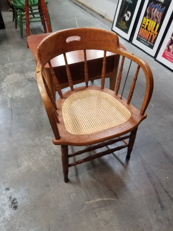 Antique Wood Spindle Back Chair W Cane Seat