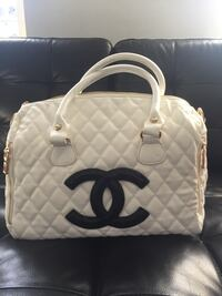 white leather quilted tote bag Gardena, 90247