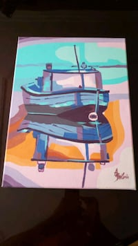 Original hand painted abstract Boat Painting Toronto, M1M 3G7
