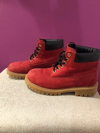 pair of red Timberland work boots Montgomery Village, 20886