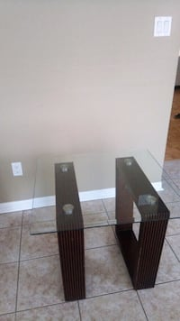 square glass table top with black wooden base Mississauga, L5R 2M5