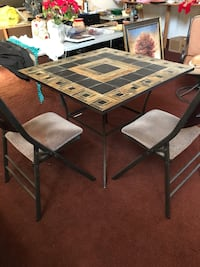rectangular brown wooden table with four chairs dining set Woodruff, 29388