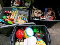 4 totes of toys and misc. Household items.  121 mi