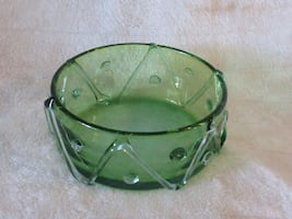 Antique green glass bowl
