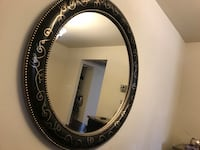 Round dark brown and gold framed wall mirror Reston, 20190