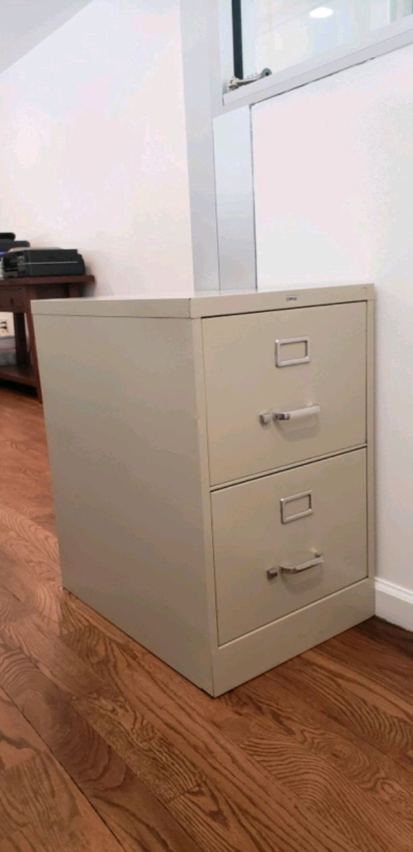Sold Staples 2 Drawer Vertical File Cabinet Letter Putty Beige