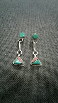 Sterling, Turquoise, Coral & Jet Inlay Earrings 220 mi