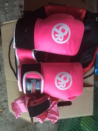 Pair of pink- and-white leather kickboxing Gloves Delta, V4C 5W2