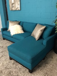 ***Teal Fabric 2PC Sofa Chaise (Free Delivery)  Atlanta, 30336