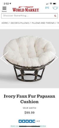 Ivory Faux Fur Papasan Cushion Arlington, 22209