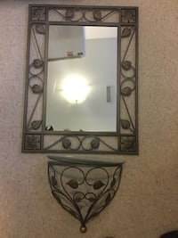 Matching wall shelf ( glass broken and may be can replaced )and mirror