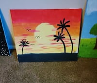 Genuine canvas painting of palm trees and sunset San Tan Valley, 85143
