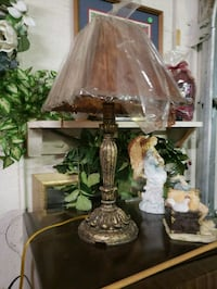 two brown wooden base table lamps Florence, 35633