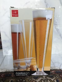 NEW Bormioli Beer Glass/Flute Set of 4 (Made in Italy)