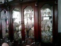 brown wooden framed glass display cabinet Toronto, M6M 5A7