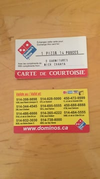 2 free dominos pizza gift cards. Each is good for a large 3 topping pizza. Can be use at box of the 11 locations listed. You can have delivered as well if in they're delivery zone. You just pay for the delivery. I have 8 like this for sale. Serious only p 780 km