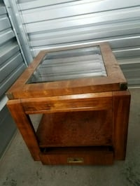 Wood end table with drawer and glass with crack  Union Grove, 53182