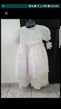 girl's beige and white floral cap-sleeved dress sc