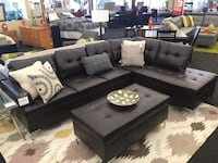 black leather sectional sofa with throw pillows Norfolk, 23502