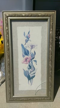 white and purple flower painting with brown wooden frame Lancaster, 93534