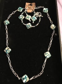 Very pretty blue stone necklace bracelet and earrings   Rochester, 14626