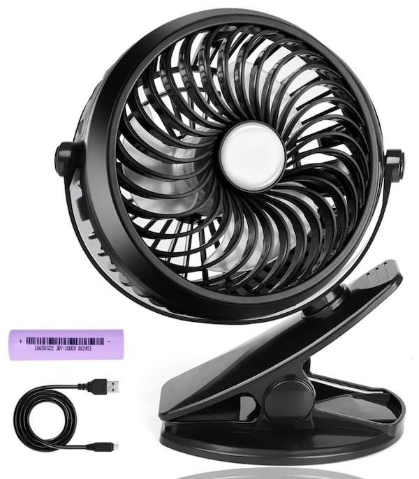 Mini Desk Fans, Clip Fan for Baby Stroller, Outdoor Camping, Office, Car  and Home, 360 Degree Rotation, Adjustable speed and USB Rechargeable