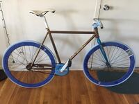 black and blue road bike