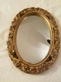 oval golden wooden frame wall mirror Hampton, 23663
