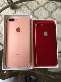 Product Red iPhone 7 128 gig and 7 Plus rose gold 128 gig