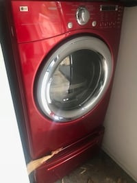 "Wild Cherry Red 27"" TROMM Front-Load Washer & Dryer Vienna"