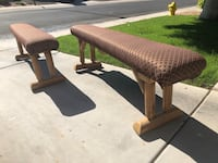 Nailhead log pole padded benches  Mesa, 85213