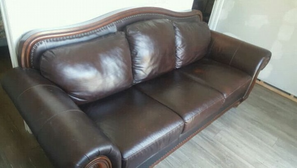 Admirable Used Leather Couch With Heavy Pure Wood Base For Sale In Beatyapartments Chair Design Images Beatyapartmentscom