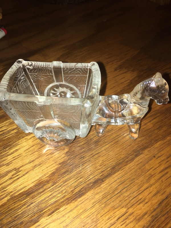 Antique crystal donkey with cart ( sugar or sweetener package holder