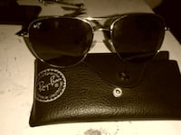 silver-colored Ray-Ban aviator sunglasses with case
