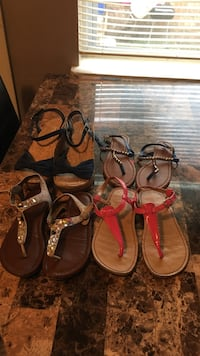 four pairs of sandals